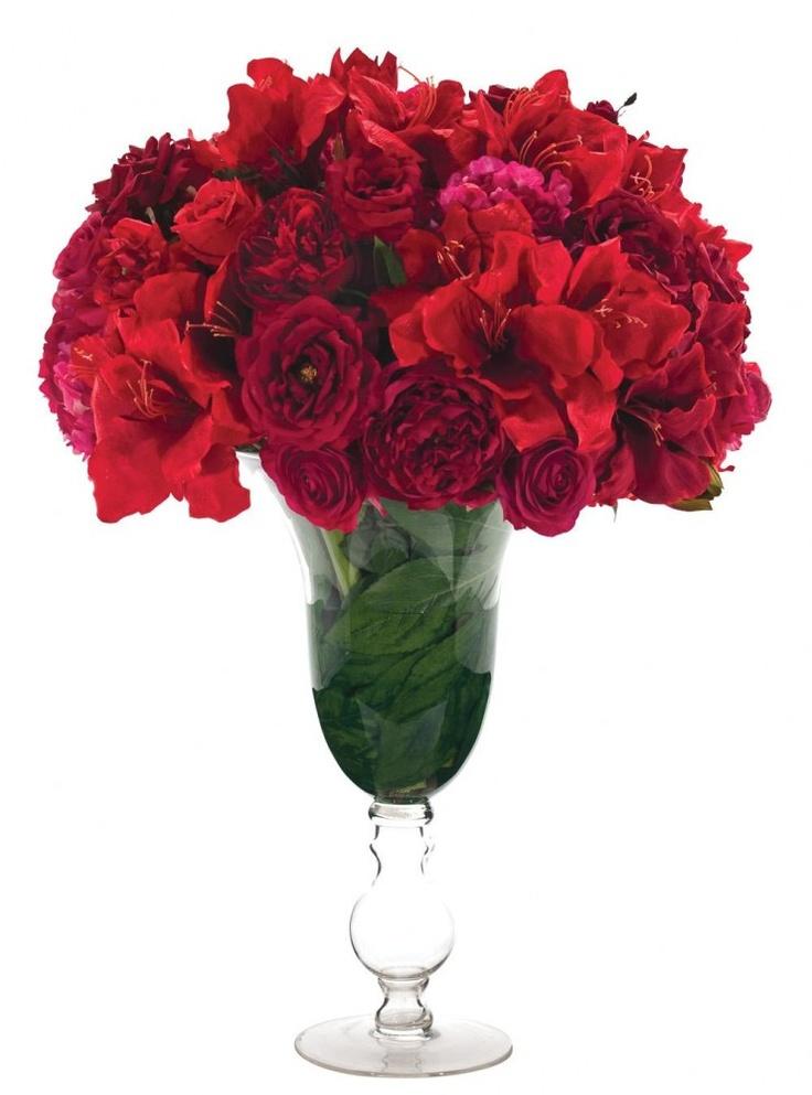 Natural decorations inc amaryllis rose peony glass for Amaryllis rose