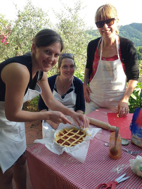 Camaiore: Cooking Class for a Bachelorette Party. A magnificent Villa on the top of a wild hill and our gorgeous Italian Crostata with Apricot Jam!