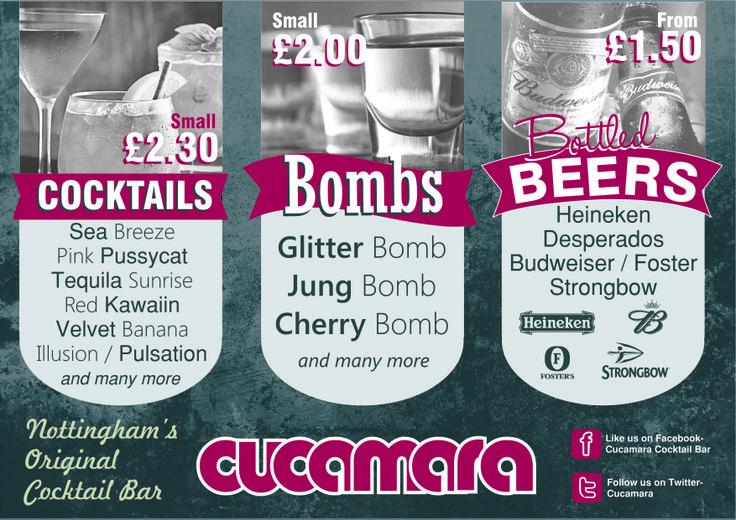 Graphic Design of A4 flyer for Cucamara Cocktail Bar.