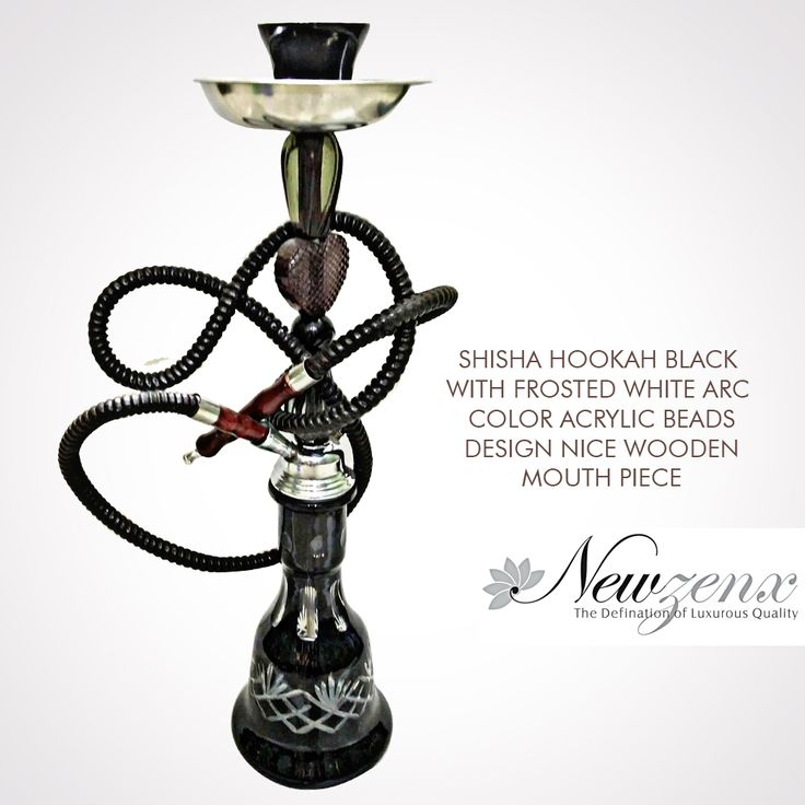 "Shisha Hookah Black Cobra 20"" -New Zenx Shisha Hookah Black with frosted white arc color acrylic beads design nice wooden mouth piece. Shop Now :- www.newzenx.com #newzenx #shishahookah #smokingglass #glasspipe"