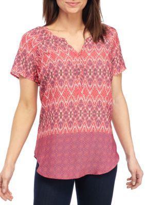 Kim Rogers PinkPurple Short Sleeve Split Neckline Tribal Top