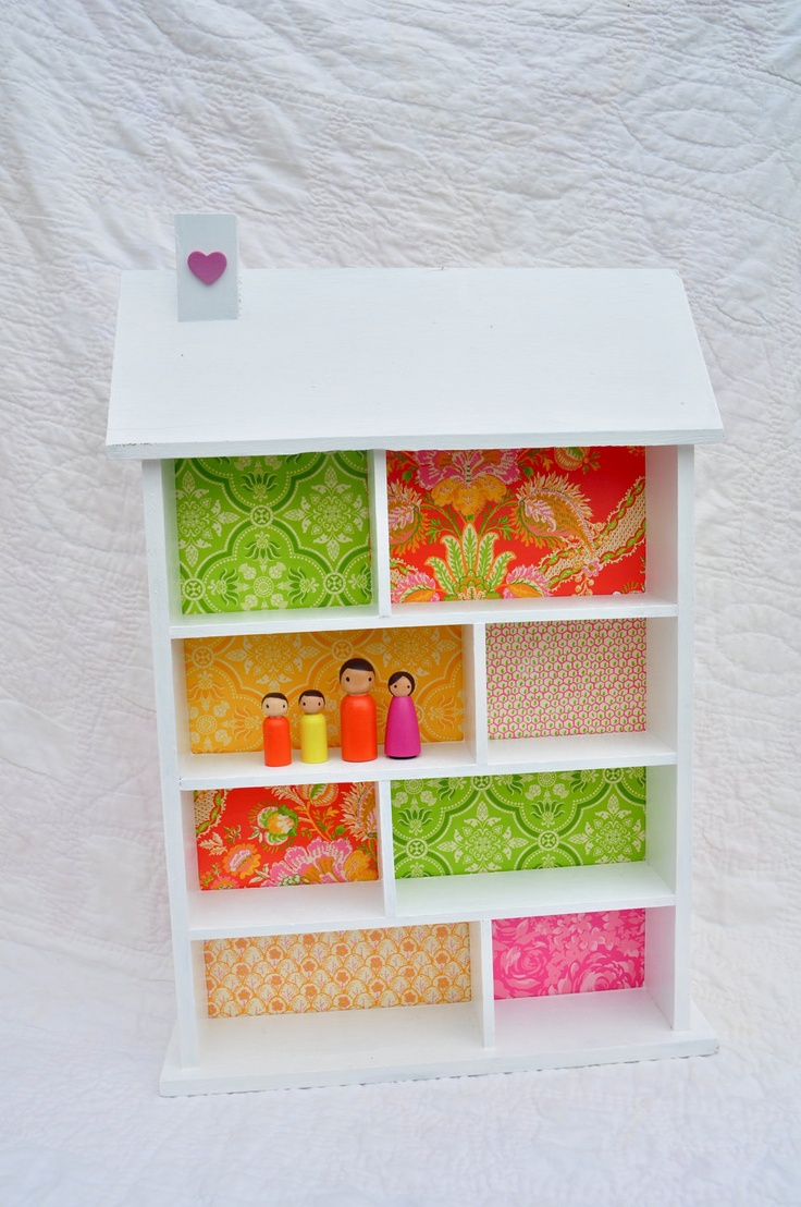 Wooden Doll House Wall Hanging Shelf For Display Or Play