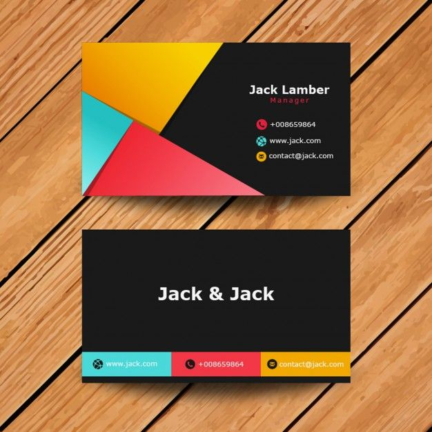 Modern Abstract Visit Card in colored style Free Vector