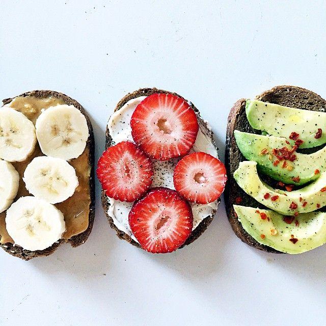 banana, strawberry, and avocado toast