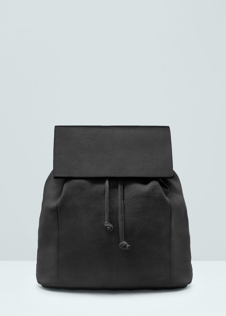 Lapel leather backpack - Bags for Woman | MANGO Lithuania