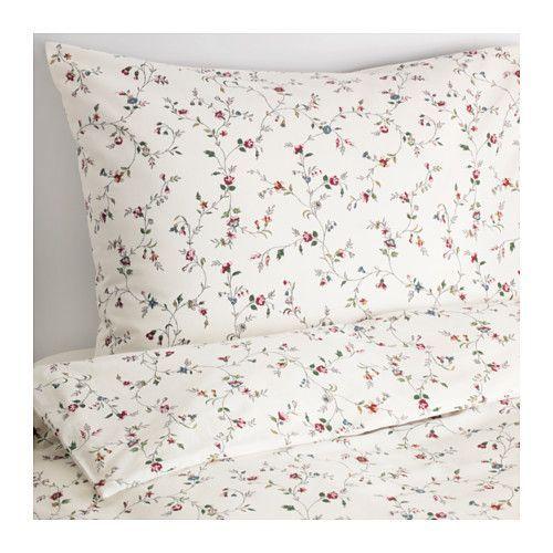IKEA - LJUSÖGA, Funda nórd y funda para almohada, 150x200/50x60 cm, , El algodón tiene un tacto suave y agradable.Los corchetes a presión ocultos mantienen el edredón en su sitio.