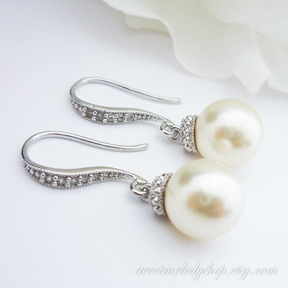 Pearl Earrings Bridal Jewelry Bridesmaid Gift Wedding Jewelry Swarovski Round Pearl Drop Earrings Cubic Zirconia Earrings White or Cream on Etsy, $22.90