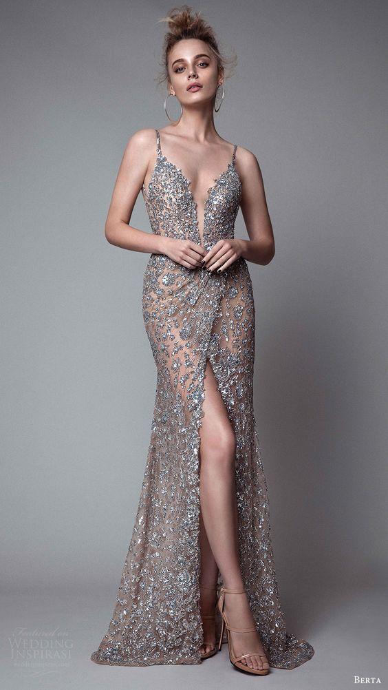 berta rtw fall 2017 (17 29) sleeveless deep v neck sheath metallic evening dress…