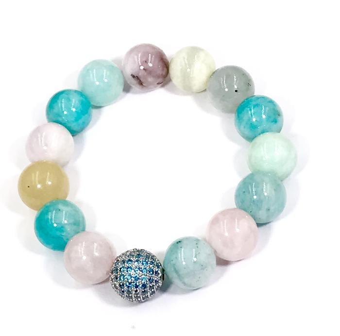wrist mala Faceted Amazonite gemstone and baroque freshwater pearl bracelet baroque pearl and gemstone stretch yoga bracelet