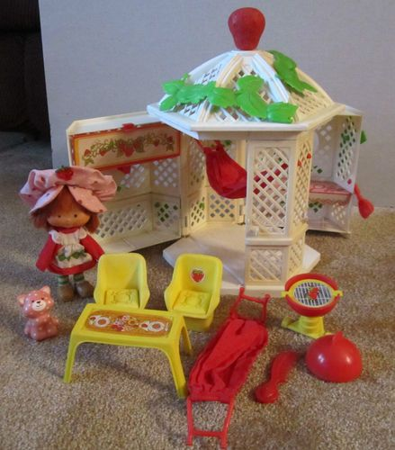 Vintage Strawberry Shortcake Garden House Gazebo with doll 1979. Loved this...still have it!