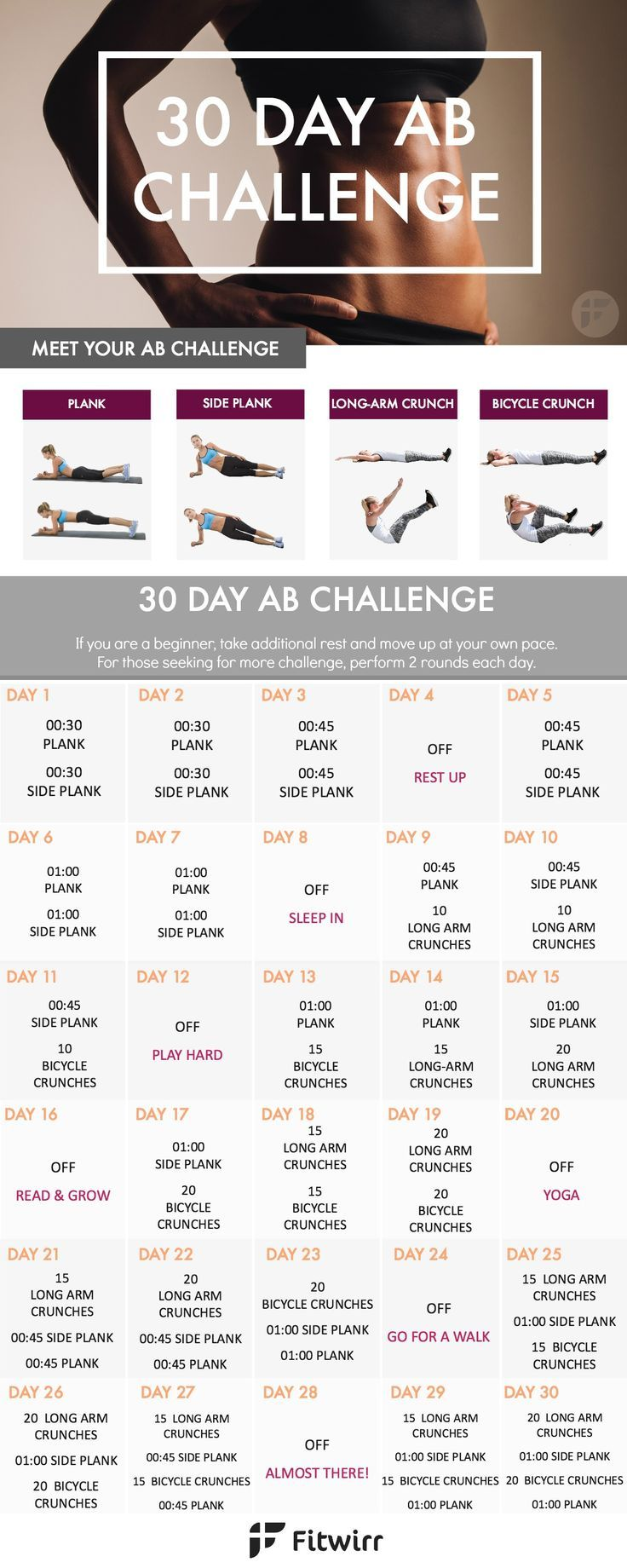 Banish your stomach fat with this 30 Day Ab Challenge. This 30 day ab workout challenge is designed to strengthen your core and tone your stomach. Give this ab challenge a try. #fitness
