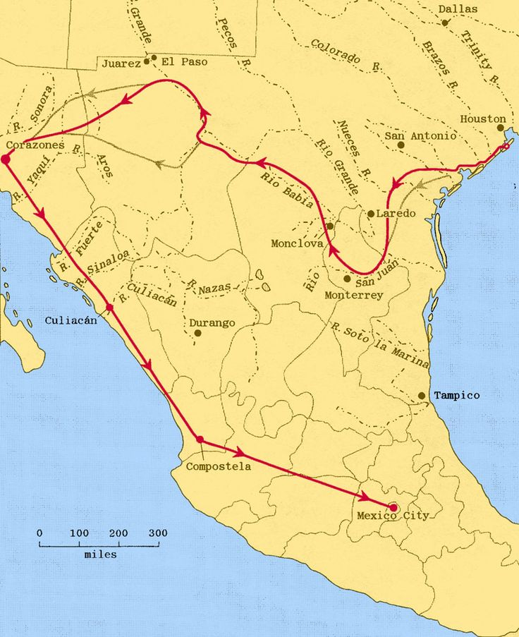 Transcontinental Route of Cabeza de Vaca and his Companions across South and West Texas and Mexico, as Charted by Alex Krieger