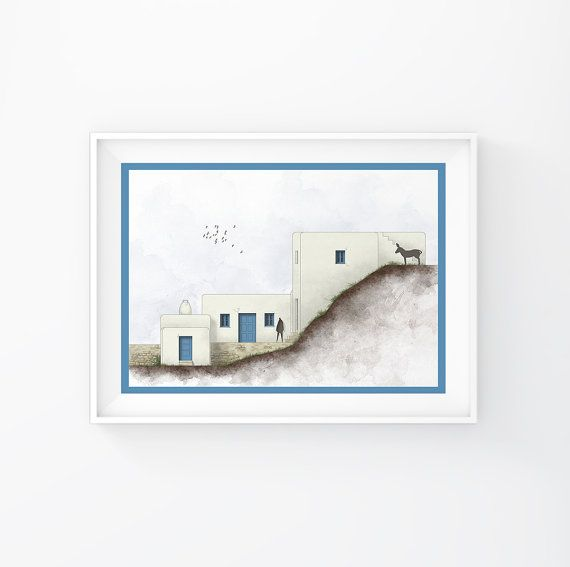 Art Print, Wall Art, Digital Art Poster, Digital Art Print, Greek islands, Minimalist Art,Wall Decor, Cycladic Architecture,INSTANT DOWNLOAD.