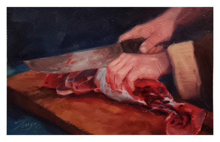 Oil painting study based on a photo reference. Cutting fish.
