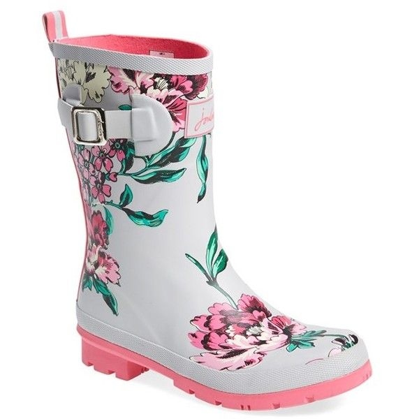 """Joules 'Molly' Rain Boot, 1 1/4"""" heel ($68) ❤ liked on Polyvore featuring shoes, boots, cool grey floral, mid-calf boots, rubber boots, grey mid calf boots, wellies boots, grey boots and gray boots"""