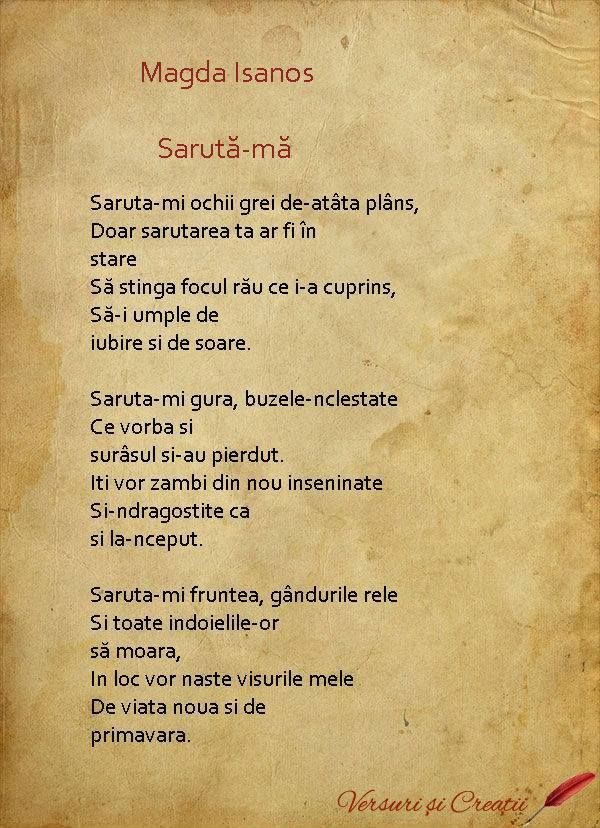 Poezii iubire, poezii de dragoste, Saruta-ma de Magda Isanos