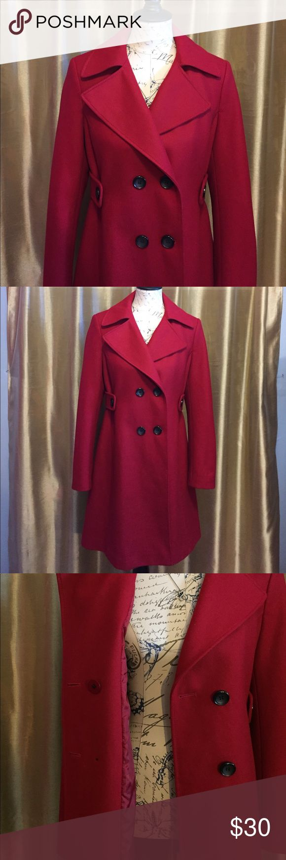 Adorable Red Pea Coat (NWOT) A Victoria's Secret staple, this coat is classy, sassy, and a definite head turner!  It features a slight curve to accentuate the female physique, and double breasted buttons. This coat has not been worn but there is opening in the stitching under the armpit that is not pulling apart (pictured). A few stitches and no one would be the wiser . The split in the tail still has it's original stitching. Unfortunately, it's slightly to small for me so I have to let it…