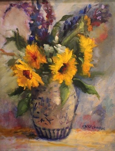 """""""Sunflowers in Asian Vase Floral Paintings by Arizona Artist Amy Whitehouse"""" - Original Fine Art for Sale - © Amy Whitehouse"""