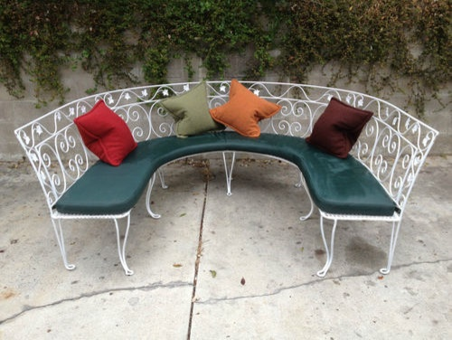 antique vintage semi circle wrought iron garden patio bench shabby chic 40s e other