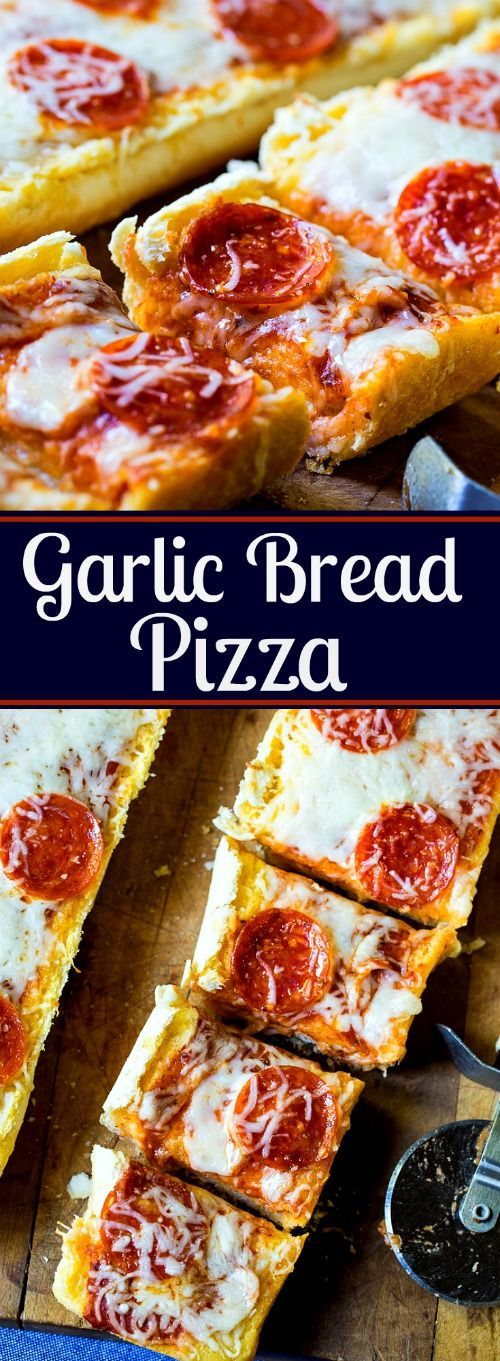 Garlic Bread Pizza made with frozen garlic bread. So buttery, garlicky and good!