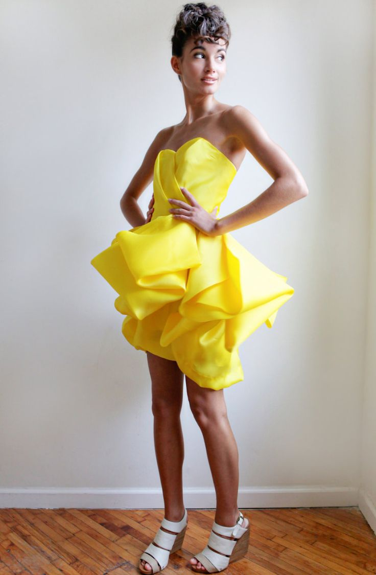 BlakeCanary Satin Faced Silk Organza by Leanimal on Etsy {this dress is so gorgeous}: Silk Organza, Faced Silk, Dresses, Blake Canary Satin, Blakecanary Satin, Yellow Dress