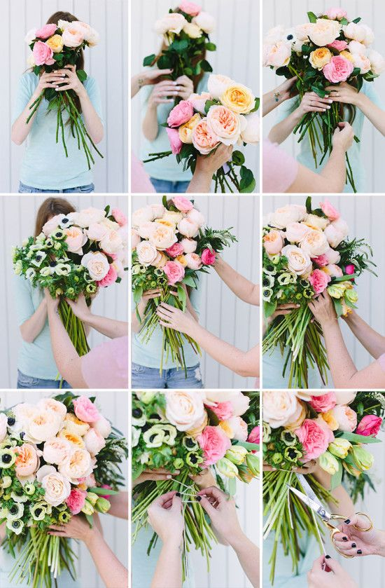 making wedding bouquets fresh flowers make this diy flower blocked bouquet gardens 5680