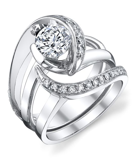 Very unique set which looks great together. Vision Engagement Ring with Wedding Band - Mark Schneider Design