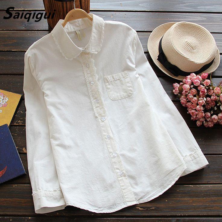 Saiqigui White Blouse Women Work Wear Button Up Lace Turn Down Collar Long Sleeve Cotton Top Shirt cute blusas feminina