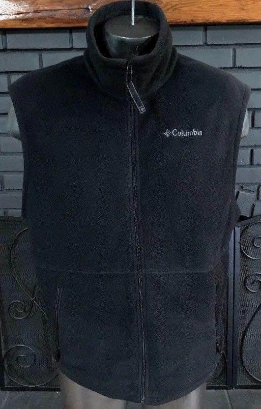 Columbia Fleece Vest Black Men's Size Large #Columbia #ZipFrontVest