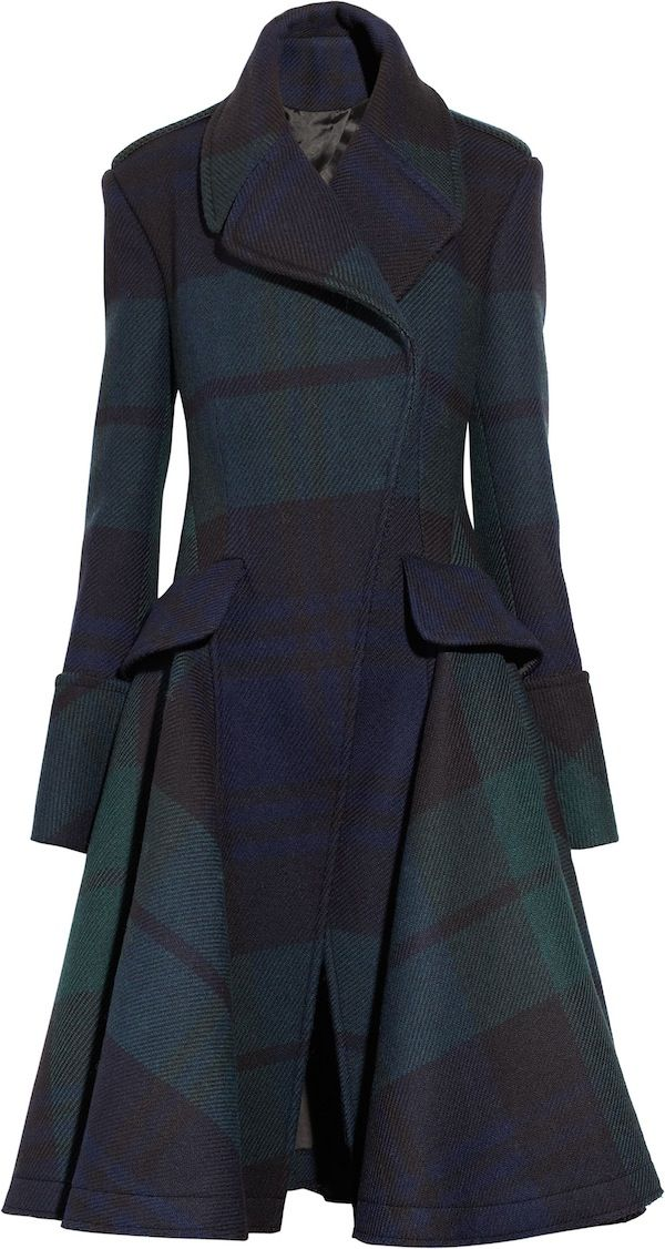 "Alexander McQueen –The black ""Watch"" plaid coat with extra long sleeves. Gimme."
