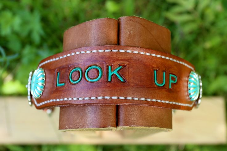 """Wither Strap - """"Look Up"""" with Sea Foam Green Parachute Conchos by KellysLeatherDesign on Etsy"""