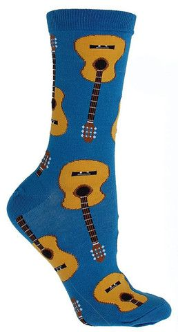 Light blue crew length sock with large acoustic guitars. Fits women's shoe size 5-10.