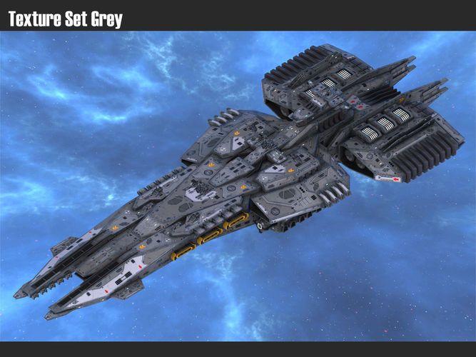 Scifi Cruiser Protector 3d Model Low Poly Obj Fbx Tga 14 Space