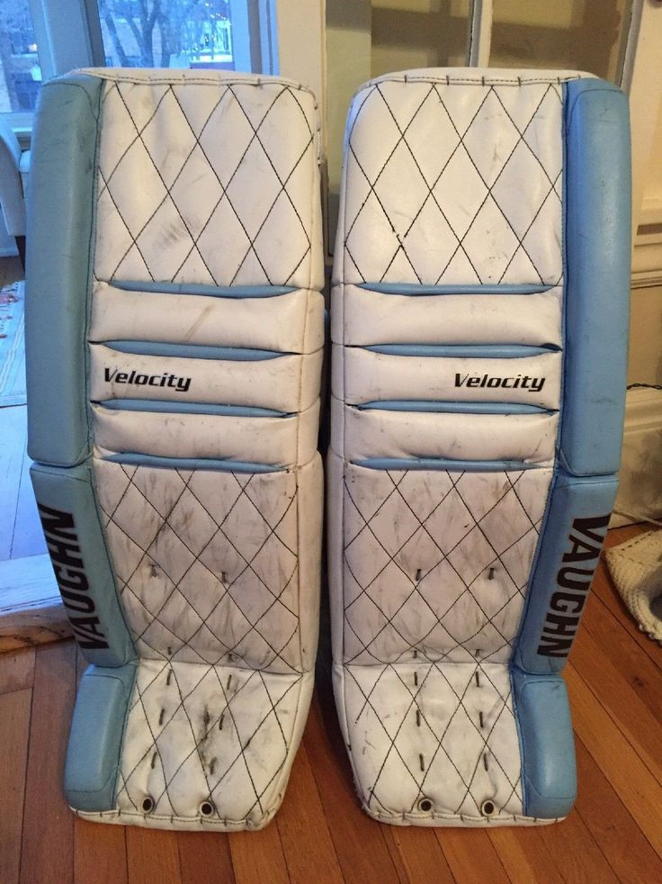 Vaughn V5 Diamond Stitch Senior Goalie Leg Pads, Size 34 2, Colors: White, Baby Blue, Black. Condition Details: one small cut on the right boot (see pics), Added velcro strips on the outside leg channel, some wear on the piping at the bottom of the boot, have shrunk some but are still sturdy pads they were built with firmer foam on the sliding surface. | eBay!