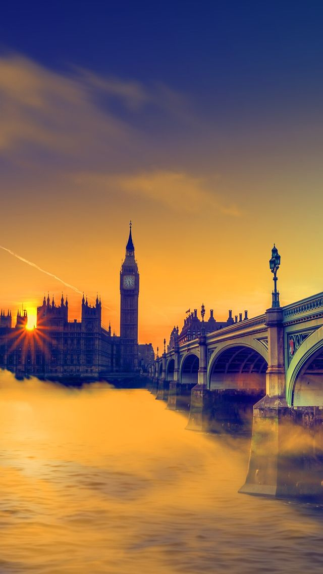 UK Sunset Big Ben Bridge #iPhone #5s #Wallpaper