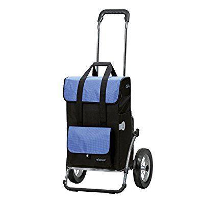 Andersen Einkaufstrolley Royal mit großen Rädern & Einkaufstasche Vektor schwarz/blau | Kühlfach | Trolley Stahlgestell