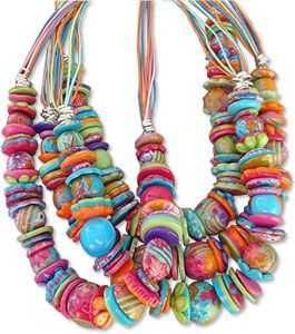 http://polymerclaydaily.com/2010/09/21/last-of-summer-polymer/: Polymer Clay Necklaces, Polymer Clay Beads, Beads Necklaces, Clay Inspiration, Clay Daily, Summer Polymer, Clay Polymer Clay, Colors Polymer, Clay Crafts