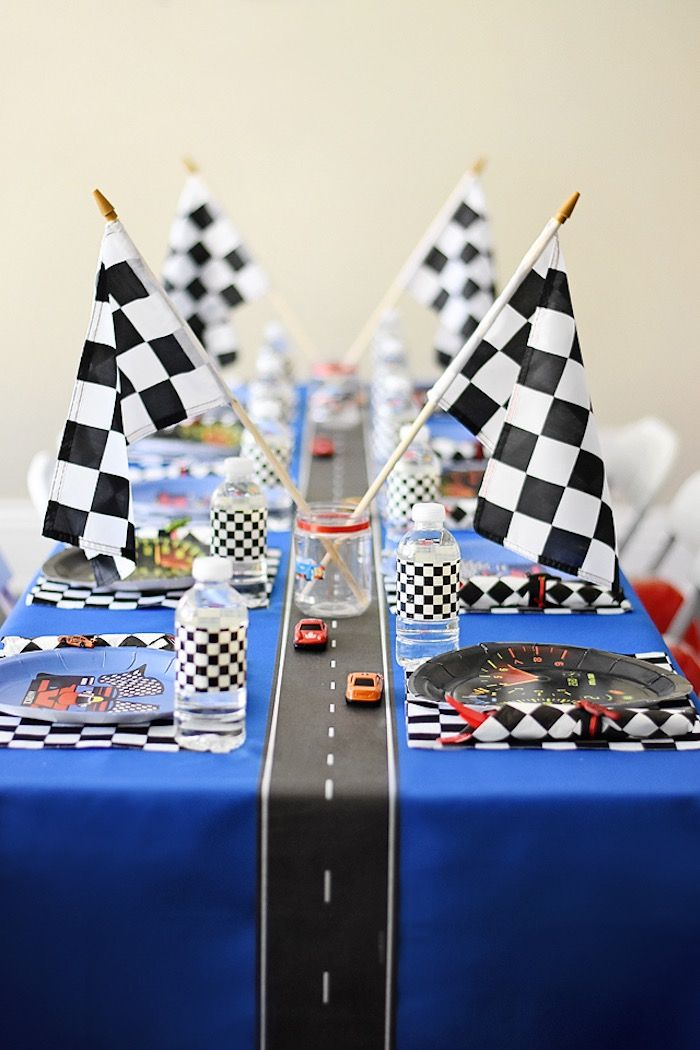 Racetrack guest table from a Race Car Birthday Party on Kara's Party Ideas | KarasPartyIdeas.com (18)