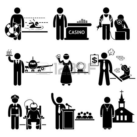 Special Jobs Occupations Careers - Swimming Lifeguard, Casino Dealer, Tattoo Artist, Air Steward, Fortune Teller, Debt Collector, Politician, Prison Warden, Priest - Stick Figure Pictogram photo