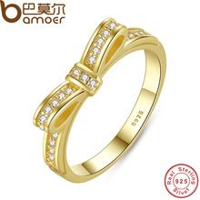 Bamoer auténtico 100% plata esterlina 925 arco nudo apilable anillo micro pave cz joyería de la boda de color rosa de las mujeres pa7129(China (Mainland))