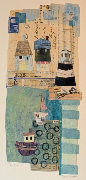 Seaview - Oh Golly Gosh / Elaine Hughes - hand and machine stitched paper…