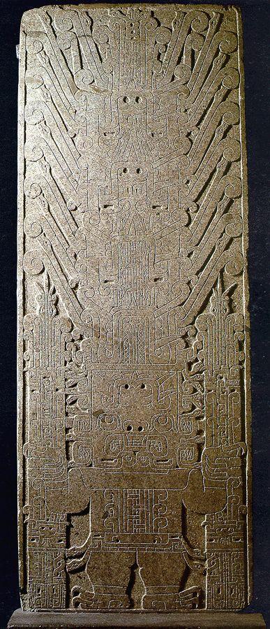 Raimondi Monolith; a ceiling relief from Chavín de Huántar (Ancash, Peru) (an important religious & political center of the Chavín culture; c. 1000-600 BC; Diorite