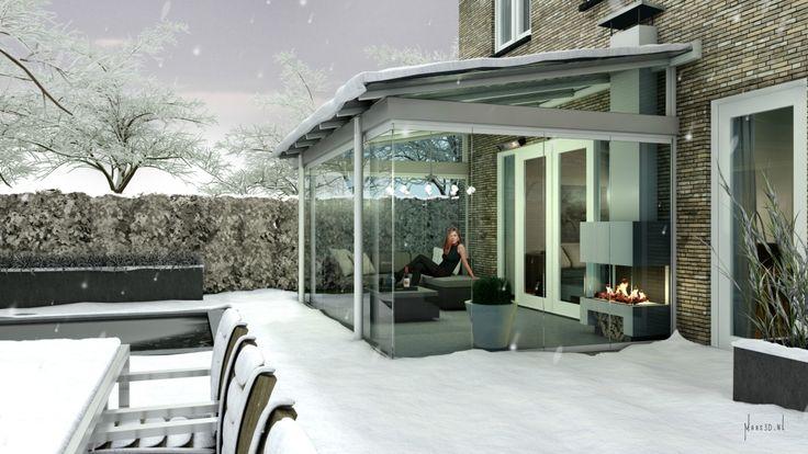 #Tuinkamer met glazen #vouwwanden  Het hele jaar door genieten van uw buitenruimte! Ook in de winter met een mooie kachel of heater erbij!
