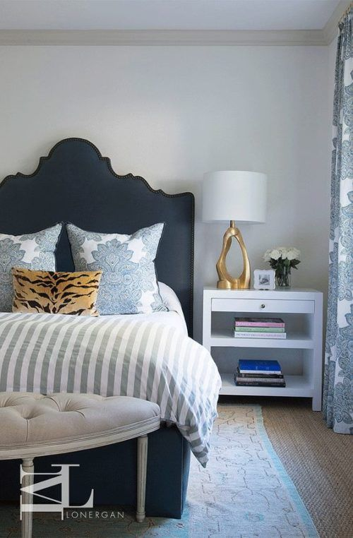 Traditional Bedroom With Dark Blue Bedhead, Gold And White Bedside Lamp,  White Bedside Table Part 82