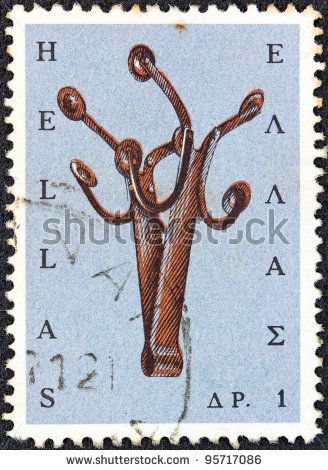 "GREECE - CIRCA 1966: A stamp printed in Greece from the ""Greek Popular Art"" issue shows a Massia musical instrument."