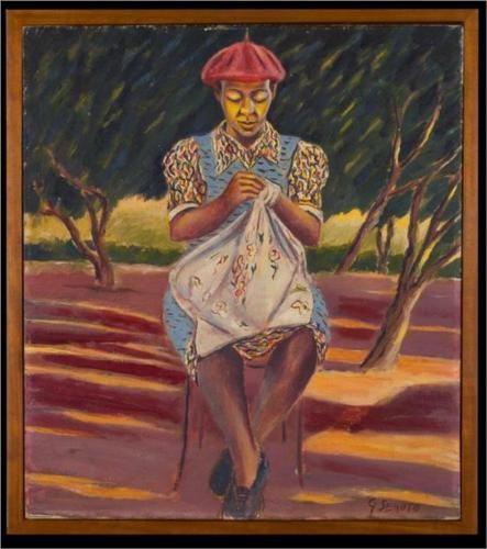 Gerard Sekoto (South African: 1913 – 1993) | WOMAN SEWING (MARY DIKGILEDI) (1946)
