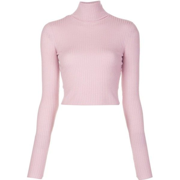 A.L.C. turtleneck cropped jumper found on Polyvore featuring tops, sweaters, cropped turtleneck, pink turtleneck, cropped sweater, crop top and turtle neck top