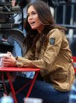 """Megan Fox was spotted filming""""Teenage Mutant Ninja Turtles 2"""" in New York City on May 11 . The actress was wearing the Roadmaster Jacket (£437) by Belstaff in khaki colorway and a pair of blue 8226 Distressed Skinny Jeans(£280) by J Brand, both from the Spring/Summer 2015 collection. She finishe"""