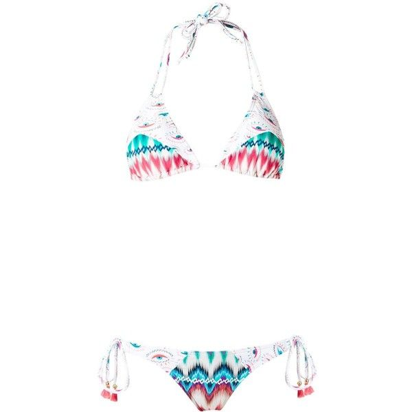 Brigitte triangle bikini set (€185) ❤ liked on Polyvore featuring swimwear, bikinis, orange, triangle bikinis, bikini two piece, spandex swimwear, triangle swimwear and brigitte swimwear