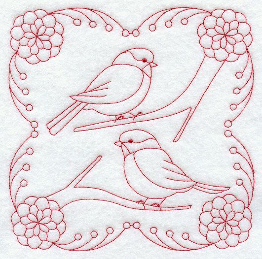 Bright Chickadees (Redwork)